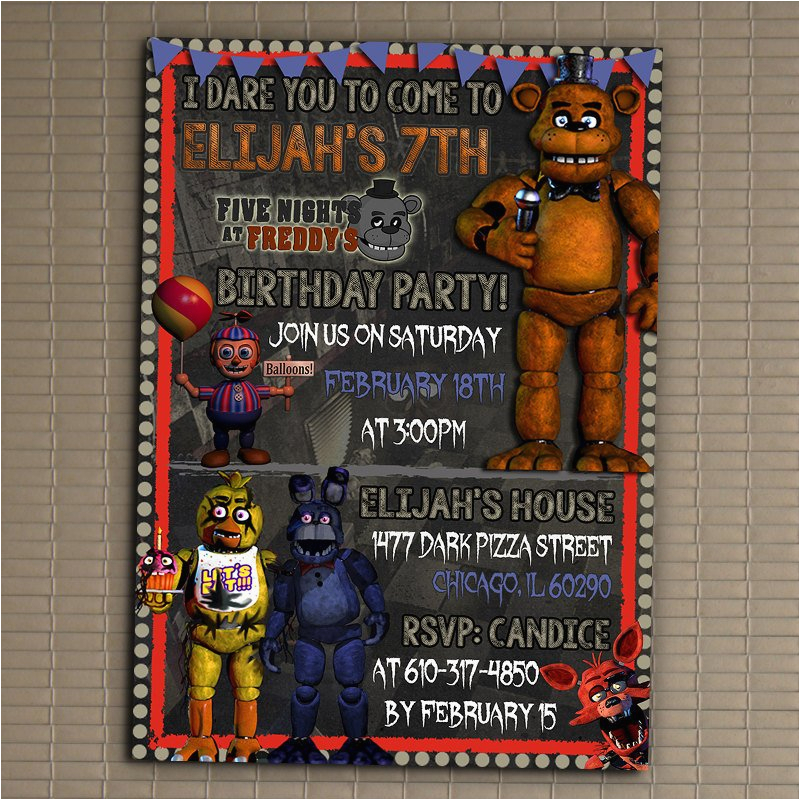5 Nights At Freddy S Birthday Invitations Five 39 Invitation You Print