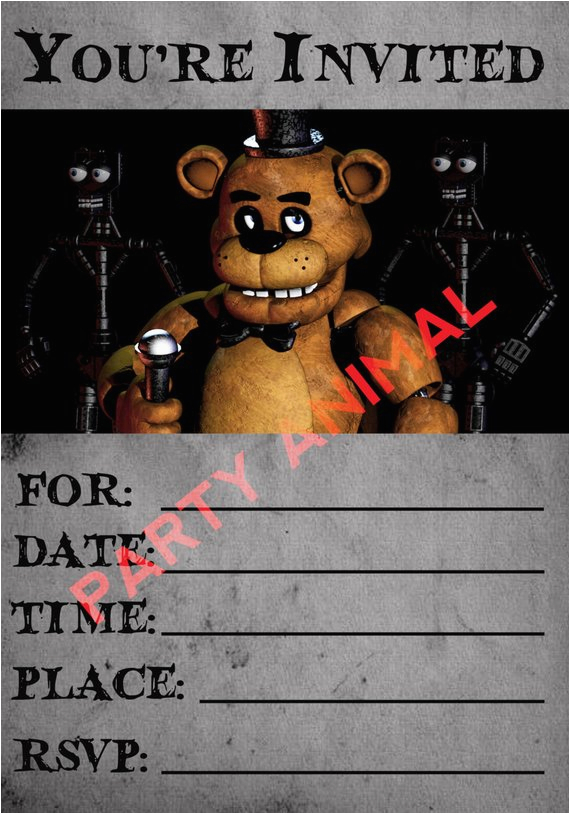 five nights at freddy 39 s party invitation instant download