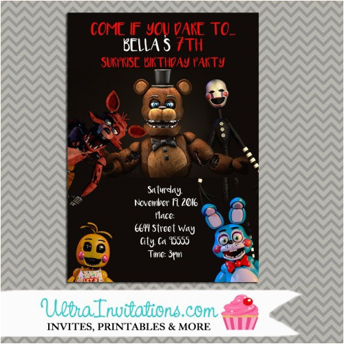 5 Nights at Freddy S Birthday Invitations Five Nights at Freddy 39 S Party Personalized Party