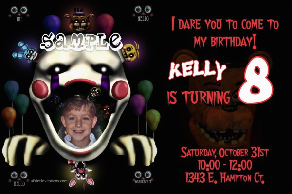 5 Nights At Freddy S Birthday Invitations Five Freddys