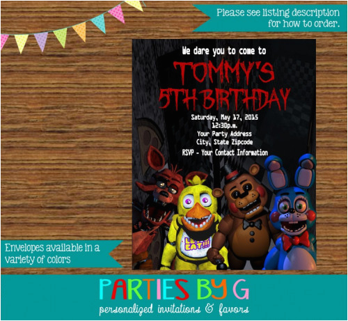 5 Nights At Freddy S Birthday Invitations Five Party Personalized
