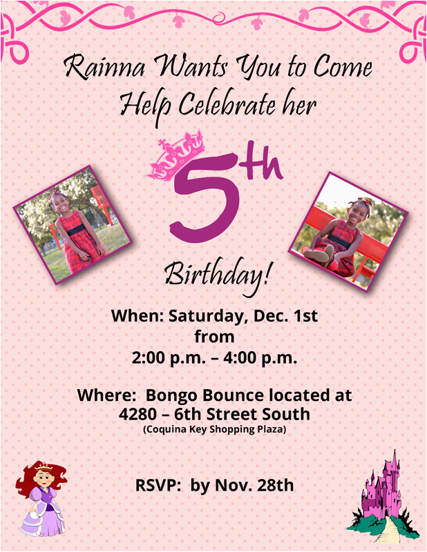 5 year old birthday invitation wording