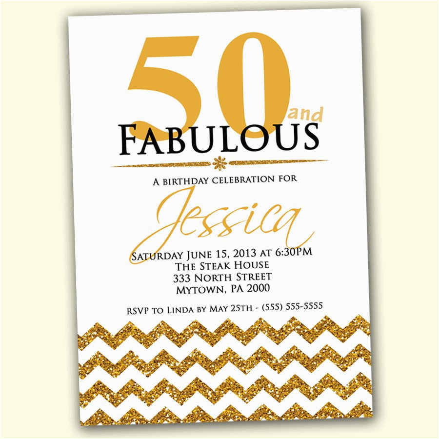 50th birthday invitation fifty and fabulous gold by