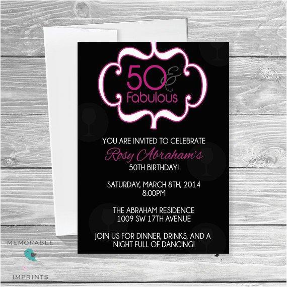 50th birthday party invitation 50 and fabulous invitations