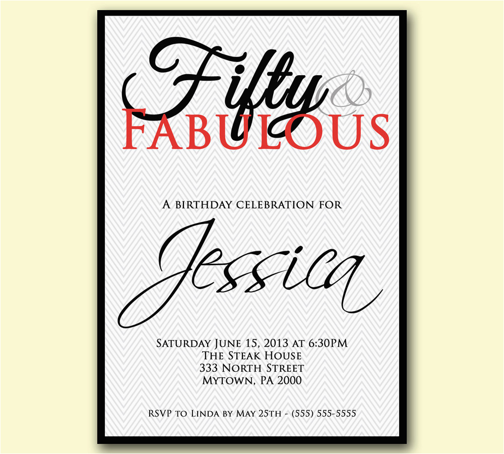 chevron 50th birthday invitation 50 and fabulous by