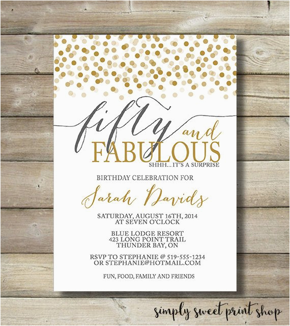 fifty and fabulous birthday invitation any by