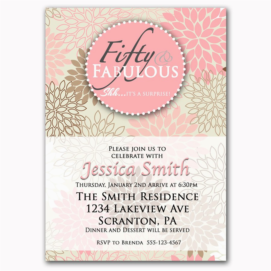 fifty and fabulous pink 50th birthday invitation by