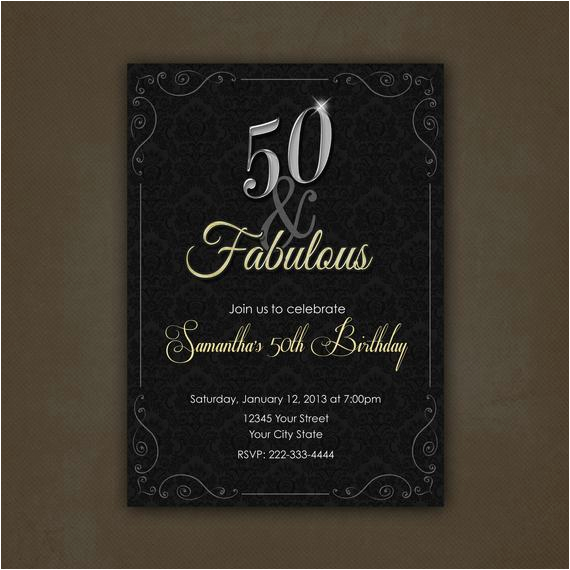 silver and gold 50 and fabulous birthday invitation printable