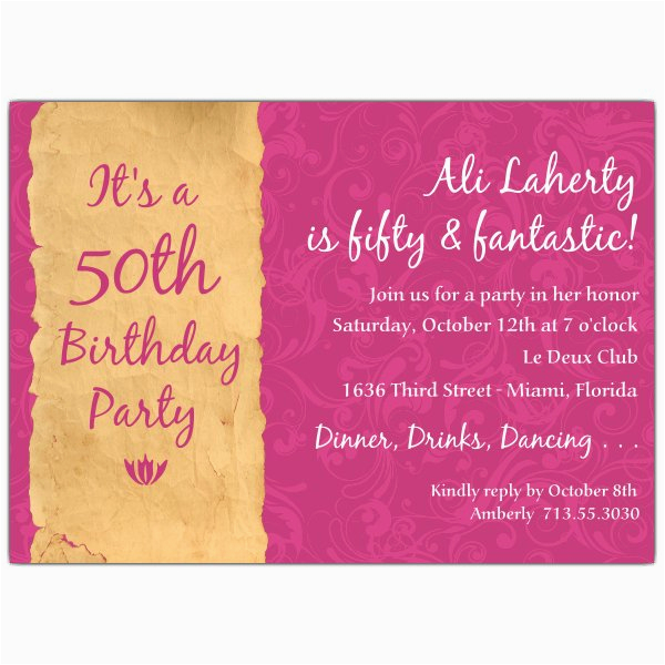 50 Birthday Invitation Sayings Quotes For 50th Party