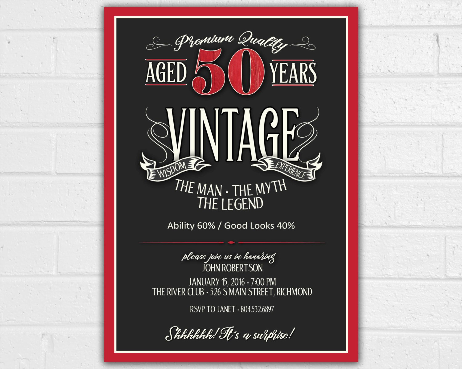 50 Birthday Invitations Free Printable 50th Invitation For Men Jpeg Aged To