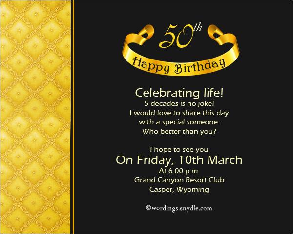 50 Birthday Invitations Wording 50th Birthday Invitation Wording