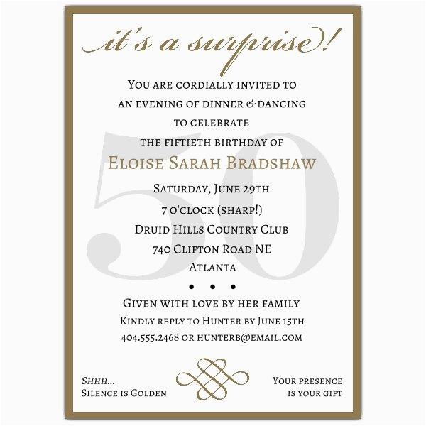 50 Birthday Party Invitation Wording Classic 50th Gold Surprise Invitations