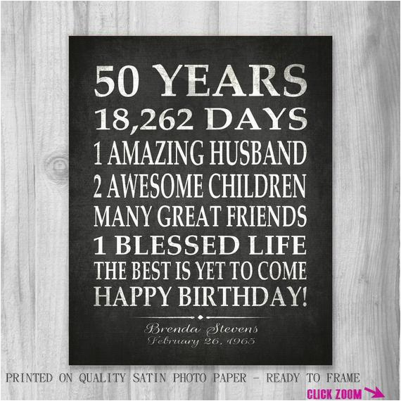 50 Year Old Birthday Card Ideas 50th Party Gift Personalized Print Over