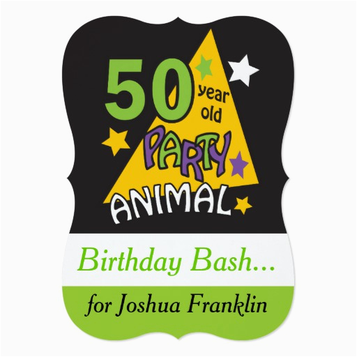 50 year old party animal 50th birthday 5x7 paper invitation card 161418780473461215