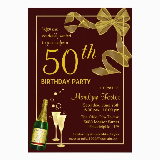 50 Year Old Birthday Party Invitations 50th And Wording Ideas Free