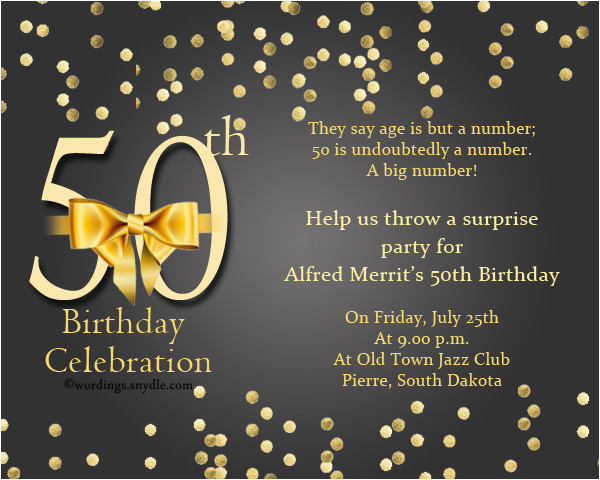 50 Years Birthday Invitation Card 50th Wording Samples Wordings And