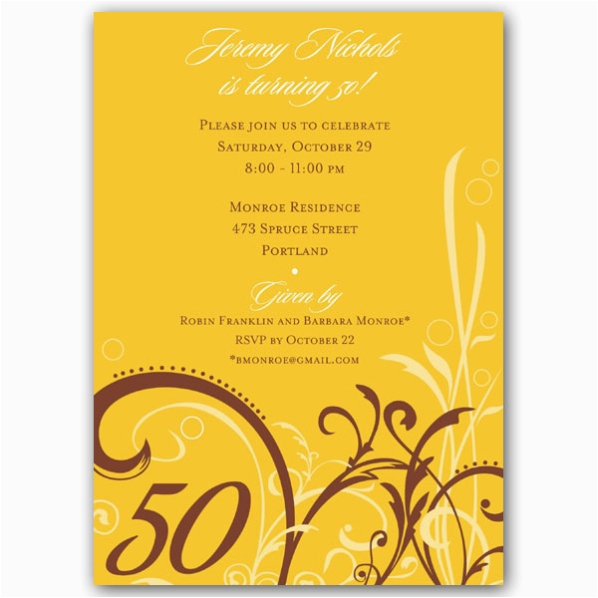 50 Years Birthday Invitation Card Cabiri Gold 50th Invitations Paperstyle