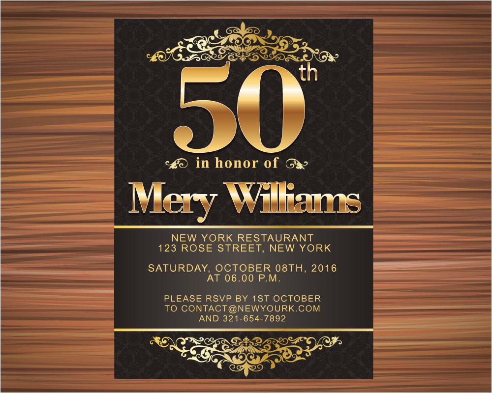 50 Years Old Birthday Invitations