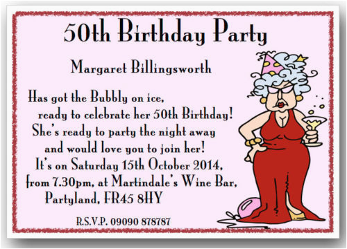 50 Years Old Birthday Invitations Funny 50th Party Invitation Wording