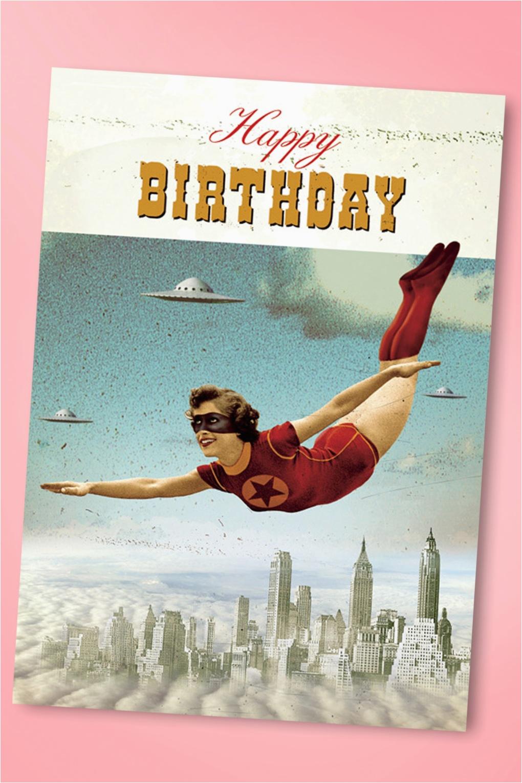 50s superhero happy birthday greeting card