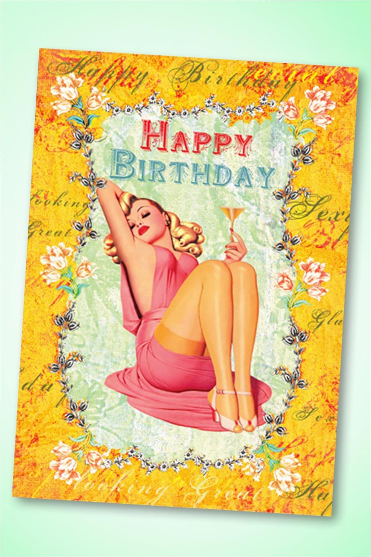50s tres chic happy birthday greeting card