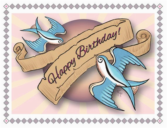 birthday card happy birthday swallows tattoo style art