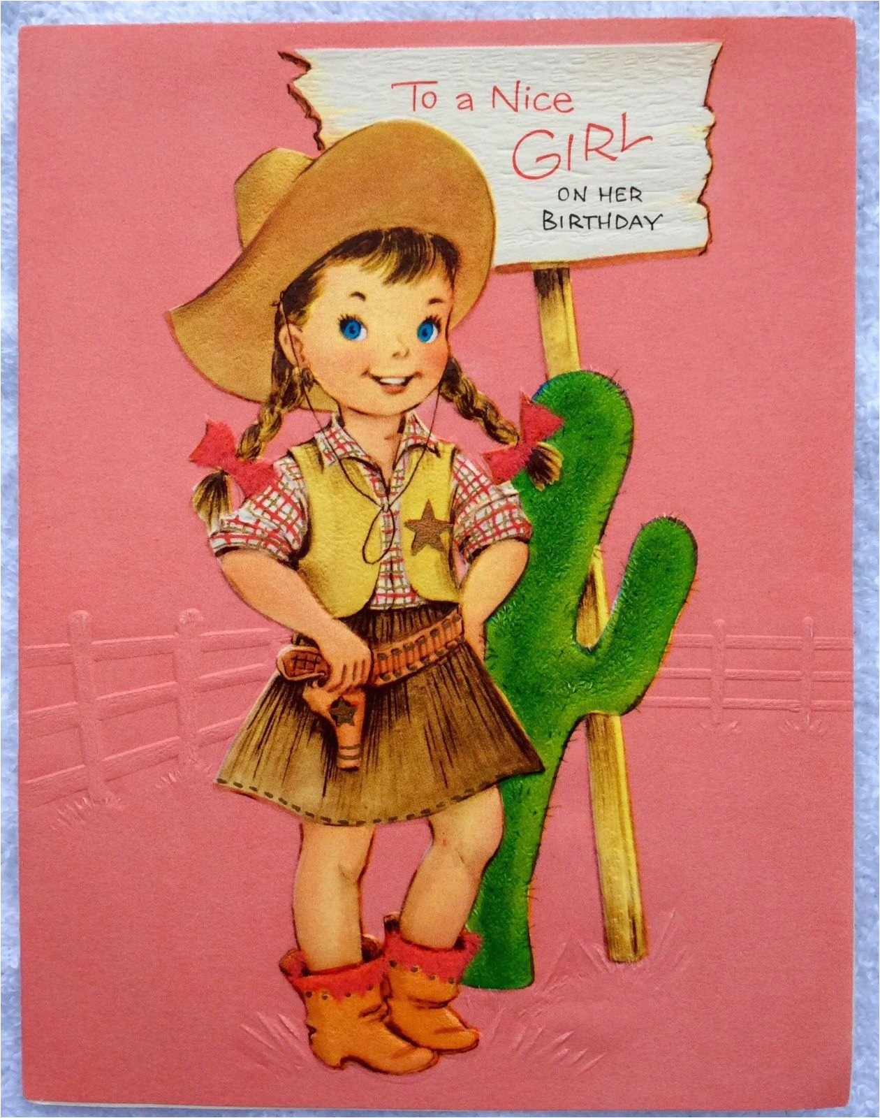 pink little cowgirl hat boots cactus embossed 50s vintage
