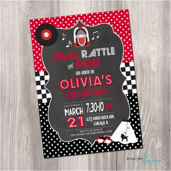 50s birthday invitation fifties birthday