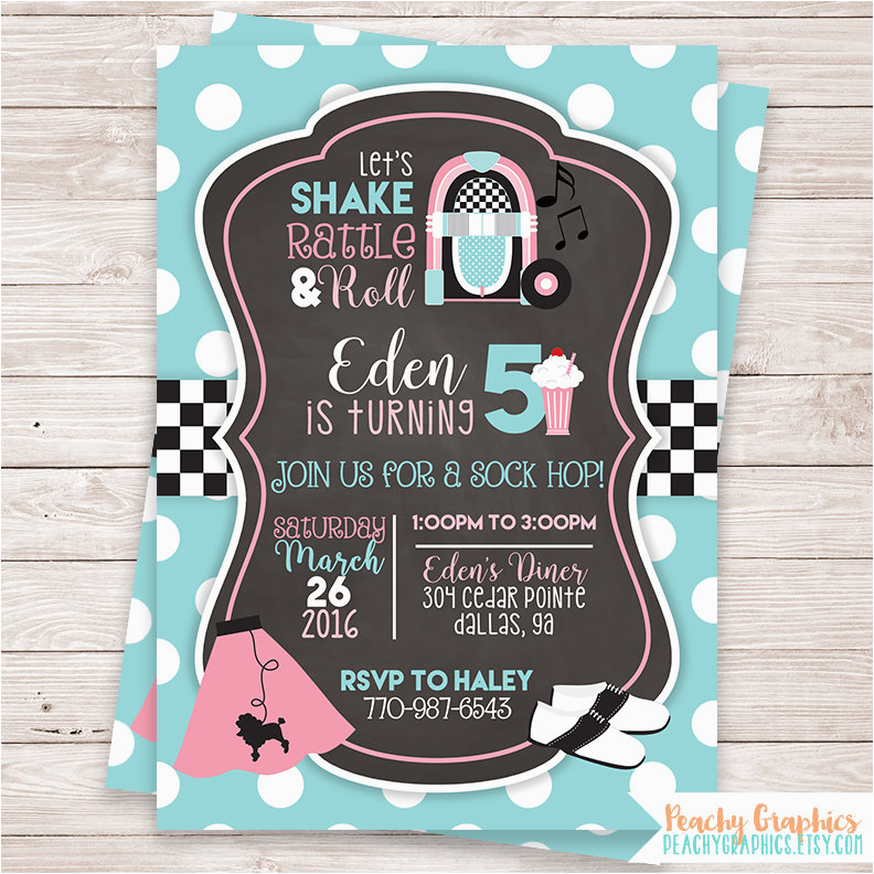 printable 50s birthday party invitation