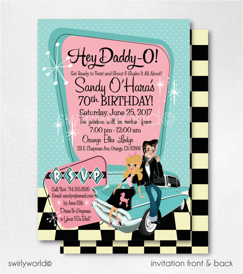50s Birthday Invitations Retro 1950s Birthday Party 50s Rockabilly Invitations sock