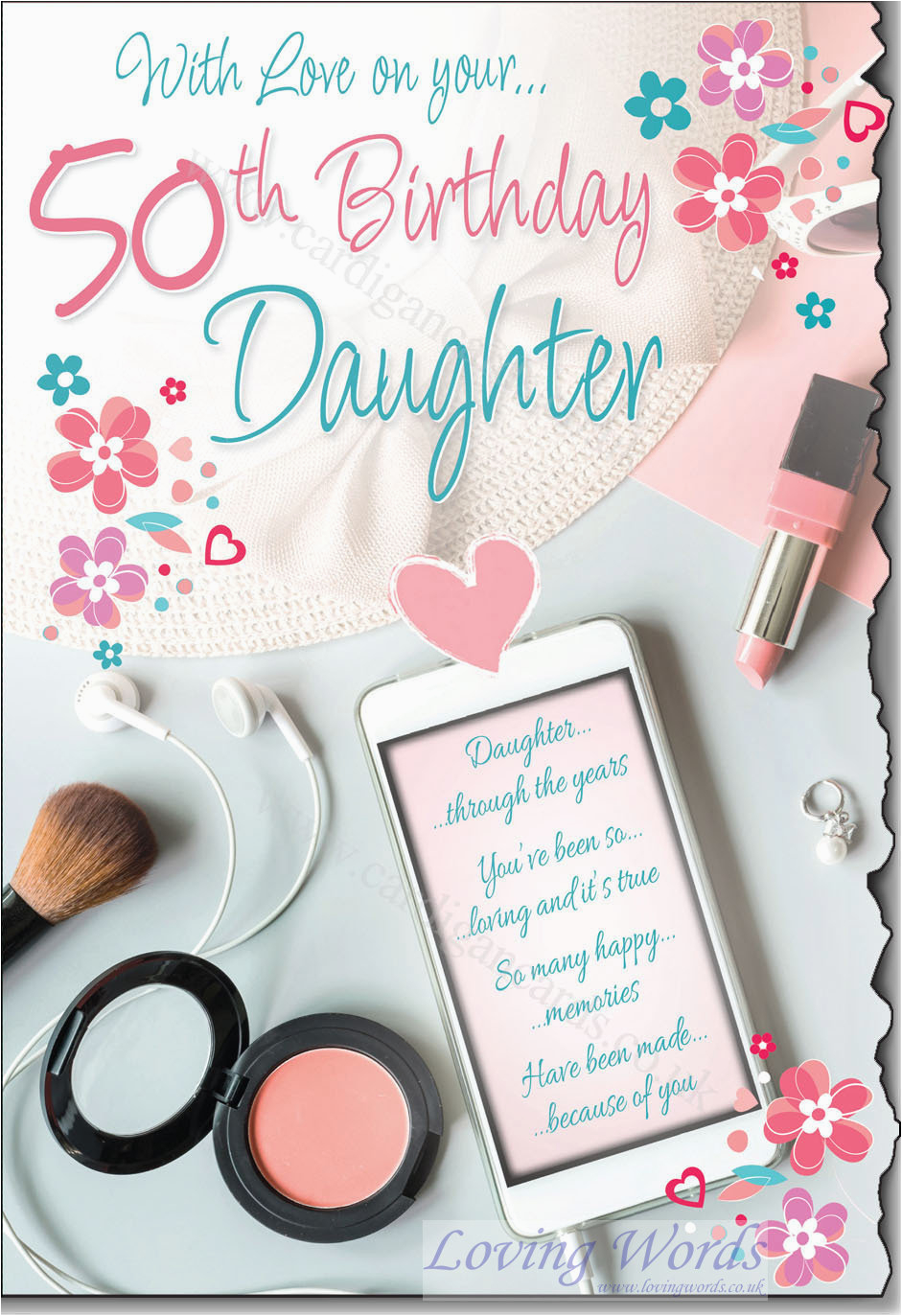 50th Birthday Card For Daughter Greeting Cards By Loving Words