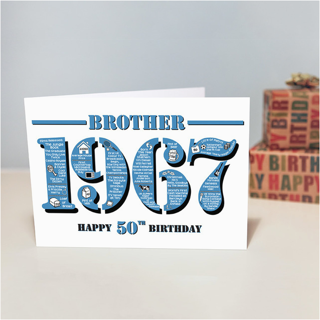 50th Birthday Cards For Brother Happy Greetings Card Ye Folksy
