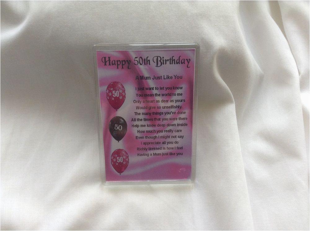 50th Birthday Cards For Mom Fridge Magnet Personalised Mum Poem