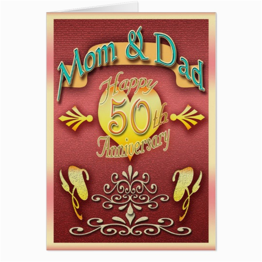 50th Birthday Cards For Mom Parents Anniversary Card Dad Zazzle Com