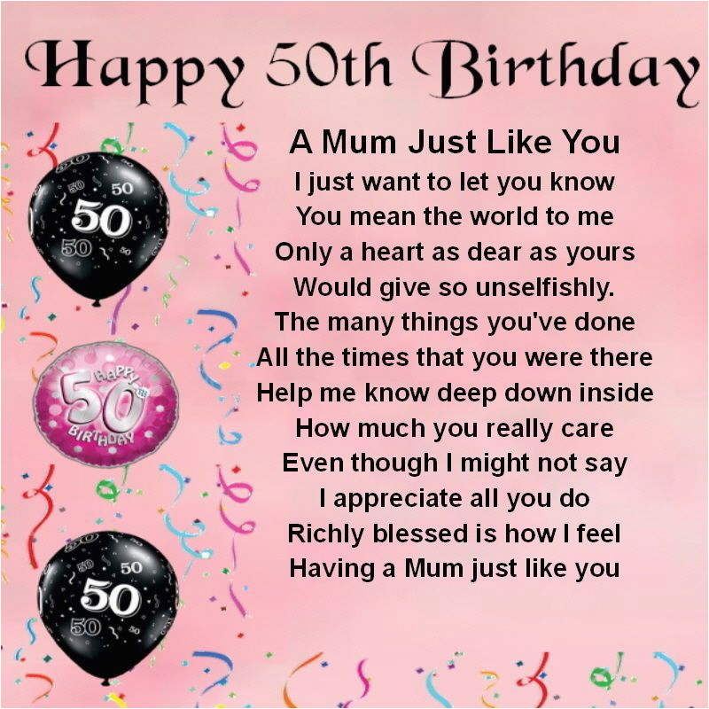 50th Birthday Cards for Mom Personalised Coaster Mum Poem 50th Birthday Free