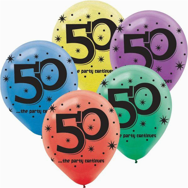 the party continues 50th birthday 12 latex balloon 15 pack