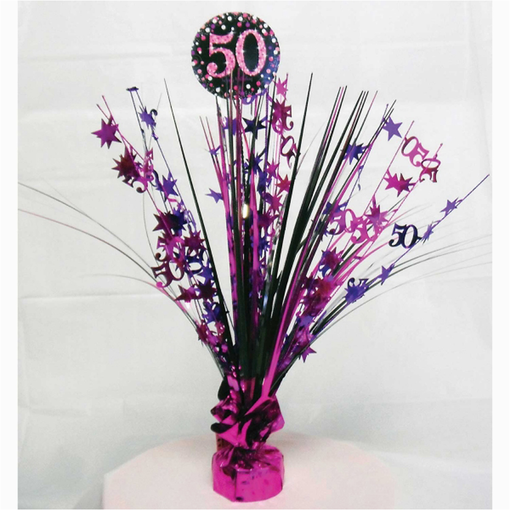 50th Birthday Decorations Purple Spray Centrepiece Table Decoration Black