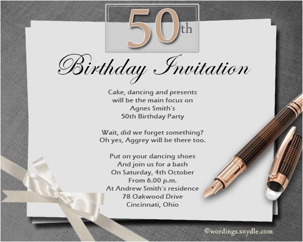 50th Birthday Email Invitations 50th Birthday Invitation Wording