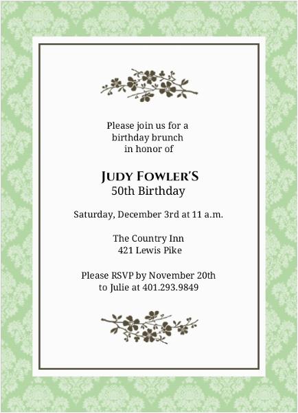 50th Birthday Email Invitations Simple Elegant Flower 50th Birthday