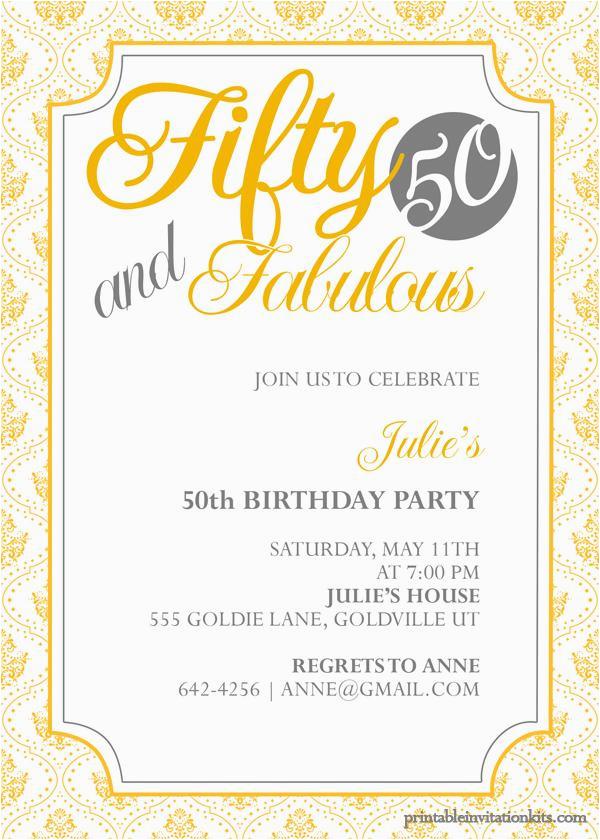 50th Birthday Invitations Free Invitation Templates Printable A