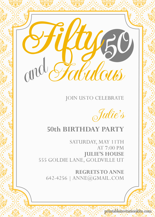 50th Birthday Invitations Free Download Fifty And Fabulous Invitation Wedding