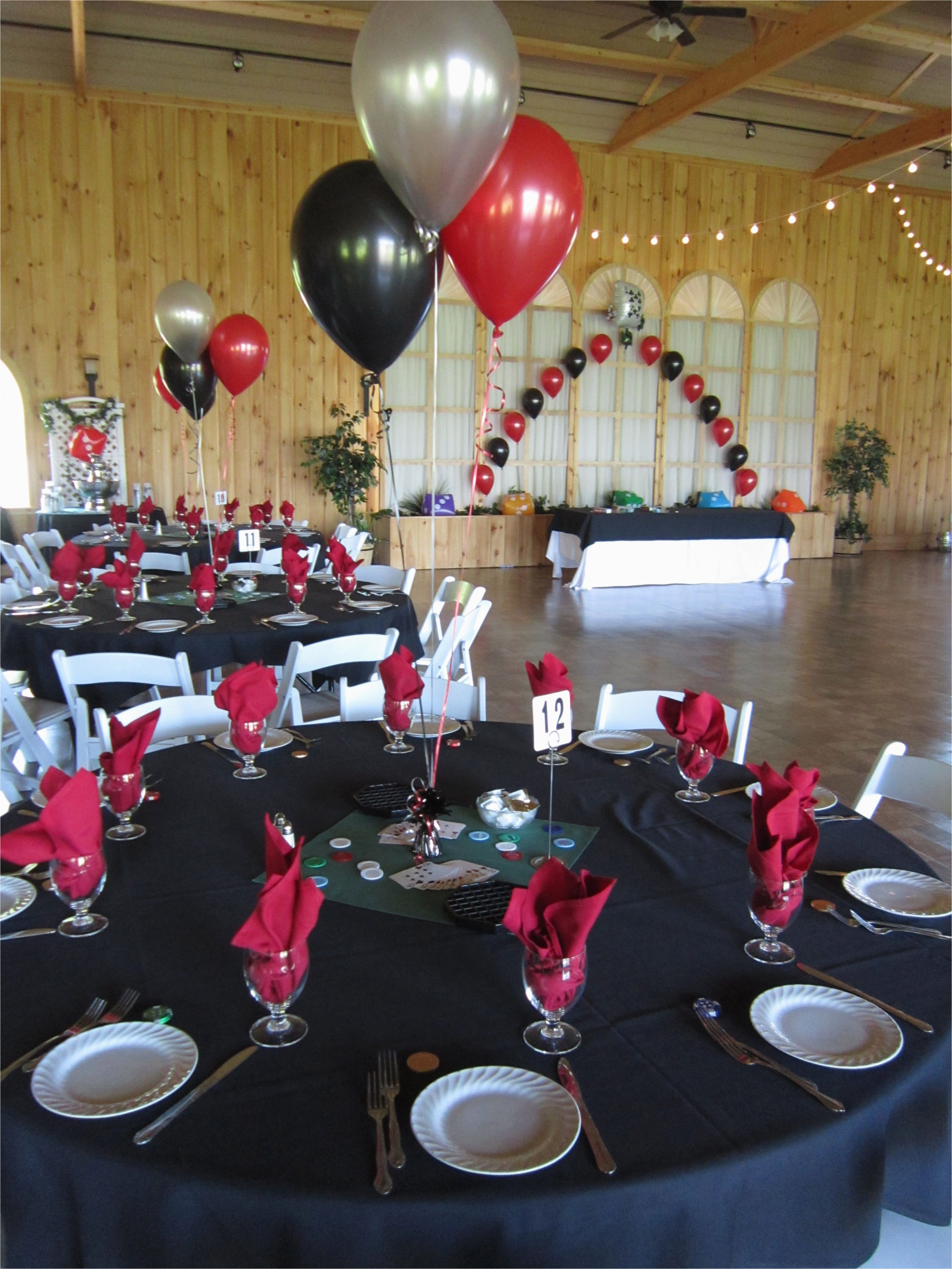 50th Birthday Party Decorations Black And Silver Casino Prom Balloons In Red At