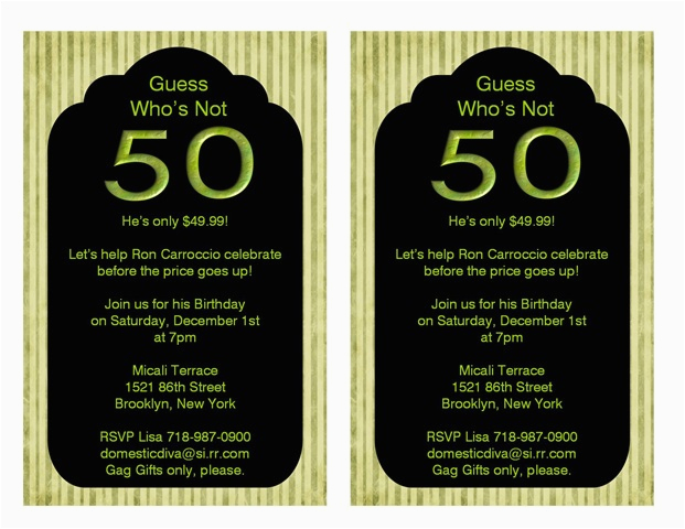 50th Birthday Party Invitation Wording Ideas New