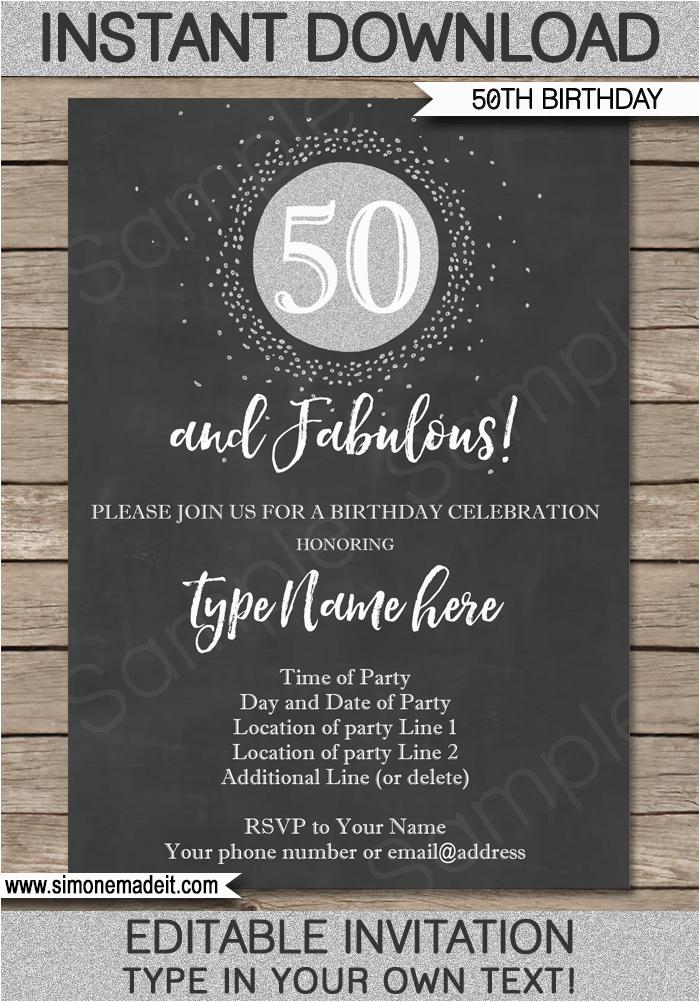 50th Birthday Party Invitations Free Printable Chalkboard Invitation Template Silver Glitter