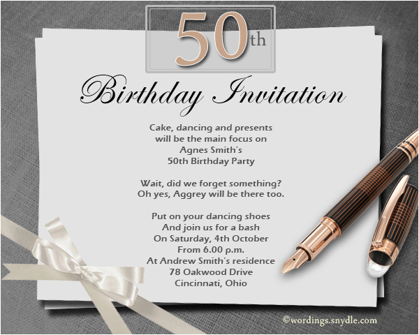 50th Birthday Party Invite Wording Invitation Orderecigsjuice Info