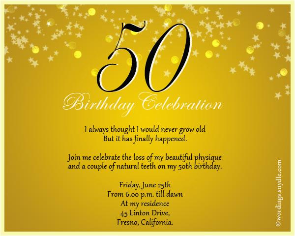 50th Birthday Party Invite Wording Celebration Invitation