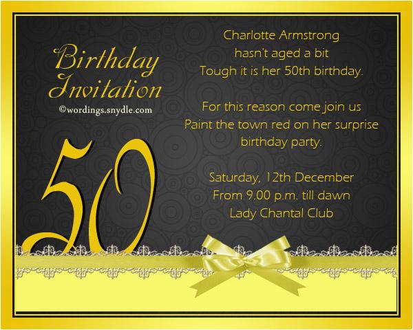 50th Birthday Party Invite Wording Invitation Templates