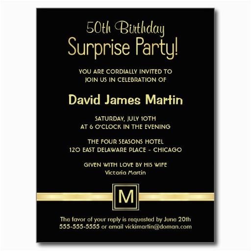 50th Birthday Party Invite Wording Surprise Invitations Free
