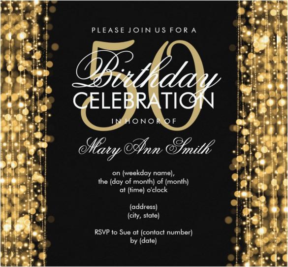 50th Birthday Party Invites Free Templates 45 Invitation Sample