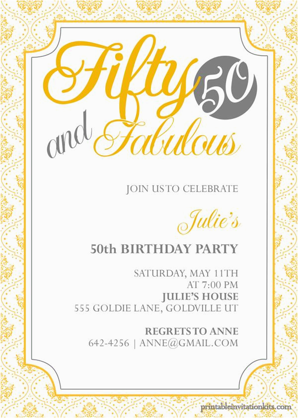 50th Birthday Party Invites Free Templates Invitation Printable A